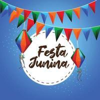 festa junina illustratie met kleurrijke feestvlag en papieren lantaarn op creatieve achtergrond vector