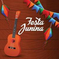 festa junina creatieve achtergrond met gitaar en kleurrijke vlag en papieren lantaarn vector