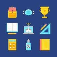 kleurrijke school icoon collectie vector