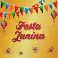 festa junina uitnodigingsachtergrond met illustratie kleurrijke vlag en papieren lantaarn vector