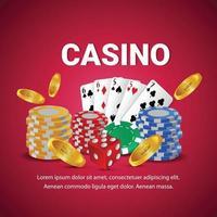 casino vip luxe uitnodiging achtergrond met gouden munten, casinofiches en speelkaarten vector