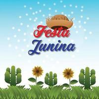 festa junina vectorillustratie met gitaar, kleurrijke feestvlag en papieren lantaarn vector