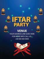 iftar feest uitnodiging achtergrond met islamitische Arabische lantaarn en gouden maan vector