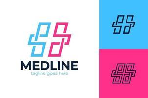 creatieve gezondheidszorg concept logo ontwerpsjabloon. kruis plus medische logo pictogram sjabloon ontwerpelementen vector