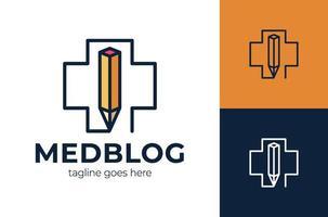 creativiteit kliniek logo concept, potlood combinatie medisch kruis, eenvoudige kleurenlogostijl