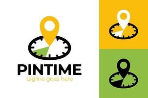 pin tijd logo sjabloonontwerp. vector klok en kaart aanwijzer logo-combinatie. tijd en gps locator-symbool of pictogram. unieke uitdrukkelijke en pin logo ontwerpsjabloon.