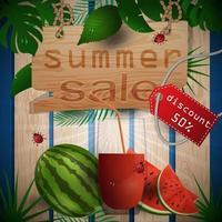 zomer verkoop illustratie met fruit en sap vector