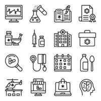 pakket medische accessoires lineaire pictogrammen