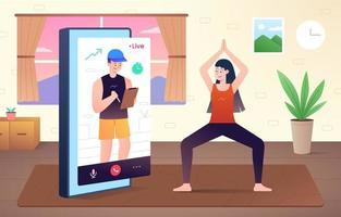 online video-oproep workout concept vector