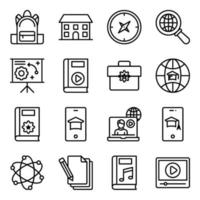 pakket onderwijs lineaire pictogrammen