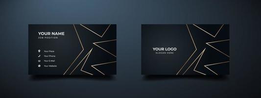 luxe en elegant visitekaartje met donkere zwarte. abstracte gouden lijn achtergrond. decoratieve vector illustrator afdruksjabloon.