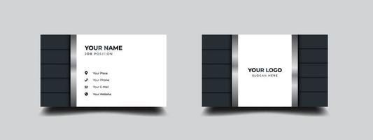 zwart-wit visitekaartje. luxe en elegant met zilver metallic design. vector illustratie afdruksjabloon.