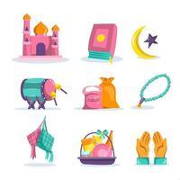 eid al fitr mubarak pictogram vector