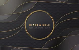 gouden cirkel op zwarte en gouden golfachtergrond vector