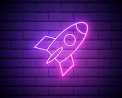 gloeiende neon lijn raket schip met vuur pictogram geïsoleerd op bakstenen muur achtergrond. ruimtereis. kleurrijk overzichtsconcept. vector