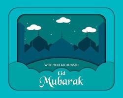 papieren kunst eid mubarak-sjabloon vector