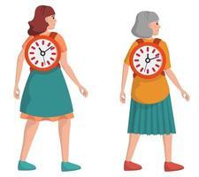 tijd is leven. vrouwelijk personage op verschillende leeftijden. concept van levensstijl. vector