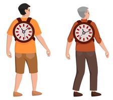 tijd is leven. mannelijk karakter op verschillende leeftijden. concept van levensstijl. vector