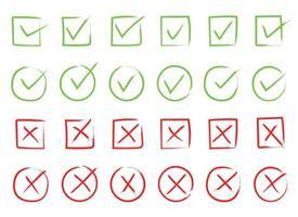 tik en kruis vector ontwerp illustratie geïsoleerd op een witte achtergrond