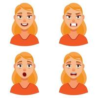 vrouw met verschillende emoties. vector
