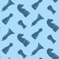 naadloze patroon met blauwe schaakstukken.