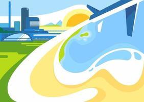 sjabloon voor spandoek met stad, kust en vliegtuig.