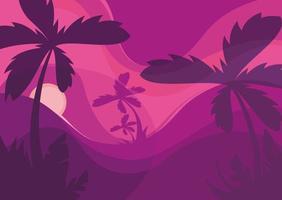 sjabloon voor spandoek met palmbomen bij zonsondergang.