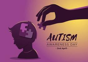 autisme bewustmakingsdag met puzzelstukjes in vlakke stijl vector