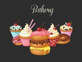 zoete bakkerijachtergrond met geglazuurde donuts, cheesecake en cupcakes met kersen, aardbeien en bosbessen. handgemaakte letters. woestijn voor menu. voedsel ontwerp. vector