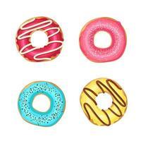 zoete kleurrijke geglazuurde donuts op wit wordt geïsoleerd. voedsel ontwerp vector