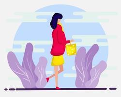 jong meisje doet winkelen illustratie in vlakke stijl vector