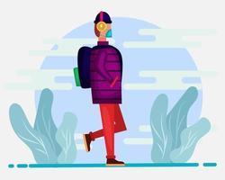 nieuwe normale terug naar school concept illustratie in vlakke stijl vector
