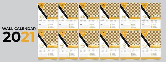 muur kalender 2021 sjabloonontwerp vector