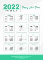 2022 gewoon groen kalenderontwerp vector