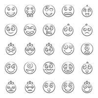 schattige gezichtsuitdrukking en emoji vector