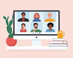 videoconferentie met groep mensen, ontmoeting met vrienden