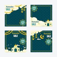 gelukkige ramadan verkoop sociale media post vector