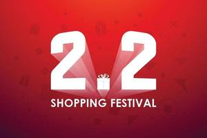 2.2 shopping festival, toespraak marketing bannerontwerp op rode achtergrond. vector illustratie