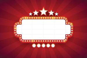 licht frame glanzend retro bord met decoratie. casino vintage stijl. vector illustratie