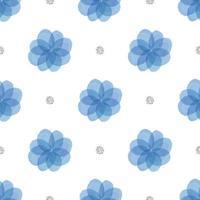 naadloze blauwe bloemen met zilveren stip glitter patroon achtergrond