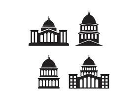 witte huis pictogram illustratie vector set