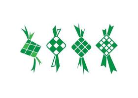 ketupat pictogram illustratie vector set