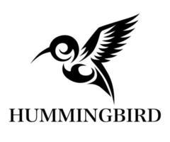 zwarte lijn kunst vectorillustratie op een witte achtergrond van vliegende kolibrie. geschikt voor het maken van logo's