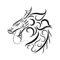 zwart-witte lijntekeningen van drakenkop. goed gebruik voor symbool, mascotte, pictogram, avatar, tatoeage, t-shirtontwerp, logo of elk gewenst ontwerp. stration
