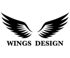 zwarte dierenvleugel logo ontwerp vectorillustratie geschikt voor branding of symbool.