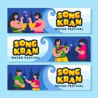 mensen die met elkaar spelen tijdens het songkran-festival vector