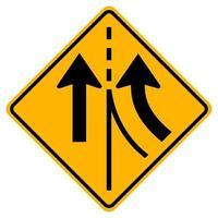 waarschuwing verkeersbord samenvoegen rechter rijstrook