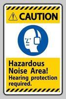waarschuwingsteken gevaarlijke geluidszone, gehoorbescherming vereist vector