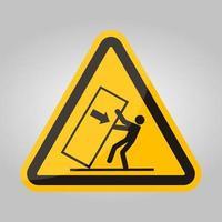 body crush tip over gevaarsymbool teken, vector illustratie, isoleren op witte achtergrond label .eps10