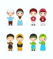 set van schattige moslimkinderen in kleurrijk thema